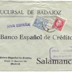 Sellos: 1937 CARTA CENSURA BADAJOZ A SALAMANCA. GUERRA CIVIL. SELLO REPÚBÚBLICA + VIÑETA PARO OBRERO. Lote 230592030