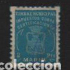 Sellos: MARIN.- 2 PTAS,- TIMBRE MUNICIPAL IMPUESTO SIBRE CERTIFICACIONES.- VER FOTO. Lote 230657165