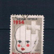 Selos: VIÑETA GUERRA CIVIL. SEGELL CATALÁ 1934. PRO INFANCIA. PRO SALUT DELS INFANTS. 5 CMS LOT016. Lote 230823205