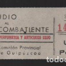 Francobolli: GUIPUZCOA, 1 PTA. SUBSIDIO AL COMBATIENTE- PERFUMERIA Y ARTICULOS DE LUJO, VER FOTO. Lote 230830250