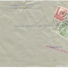 Sellos: 1937 CARTA CENSURA MÉRIDA BADAJOZ GUERRA CIVIL. SELLO ISABEL LA CATÓLICA + VIÑETA PARO OBRERO. Lote 230958120