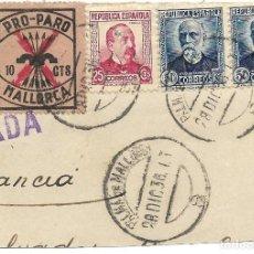 Sellos: 1936 (28 DIC) FRONTALCARTA REPÚBLICA. PALMA DE MALLORCA. GUERRA CIVIL. CENSURA. PRO PARO 10 C.. Lote 231072915