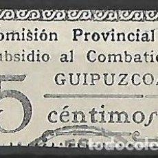 Sellos: SUBSIDIO COMBATIENTE JUNTA PROVINCIAL GUIPUZCOA- GUIPÚZCOA. EUSKADI. P. VASCO. Lote 231166905