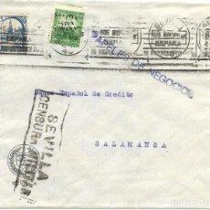Sellos: 1936 CARTA SEVILLA CENSURA SELLO REPÚBLICA SOBRECARGADO ED. ELP SEVILLA 04 + 5C PRO SEVILLA. Lote 231290325