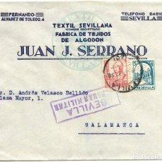 Sellos: 1937 (ABR) CARTA SEVILLA CENSURA SELLO REPÚBLICA + 5C PRO SEVILLA. Lote 232757225
