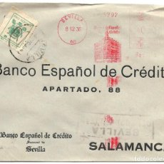 Sellos: 1936 (DIC.) CARTA SEVILLA CENSURA MATSELLOS RODILLO - FRANQUEO MECÁNICO 30 C.+ 5C. PRO SEVILLA. Lote 232757792