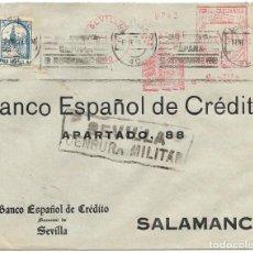 Sellos: 1937 (ENE.) CARTA SEVILLA CENSURA MATSELLOS RODILLO - FRANQUEO MECÁNICO 30 C.+ 5C. PRO SEVILLA. Lote 232758030