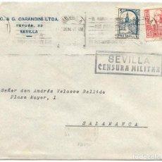 Sellos: 1937 (ENE.) CARTA SEVILLA CENSURA MATSELLOS RODILLO - FRANQUEO ISABEL 30 C.+ 5C. PRO SEVILLA. Lote 232758180