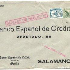 Sellos: 1937 CARTA SEVILLA CENSURA. IMPRESOS FRANQUEO CID 10 C.+ 5C. PRO SEVILLA. Lote 232758385
