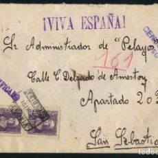 Selos: GUERRA CIVIL, SOBRE CERTIFICADO, CIRCULADO DESDE SEGOVIA A SAN SEBASTIAN, 1939. Lote 232905910