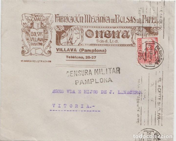 CENSURA MILITAR DE PAMPLONA (Sellos - España - Guerra Civil - De 1.936 a 1.939 - Cartas)