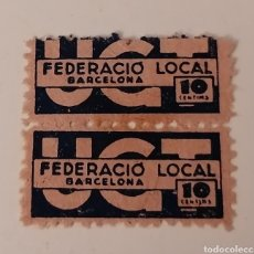 Sellos: BARCELONA. UGT. FEDERACIÓ LOCAL. 10 CENTIMS. BLOQUE 2 VIÑETAS.. Lote 233438520