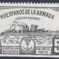 Sellos: HUÉRFANOS DE LA ARMADA. CRUCERO BALEARES 5 PTS. (VARIEDAD...LATERAL SIN DENTADO). MNH **. Lote 234308740