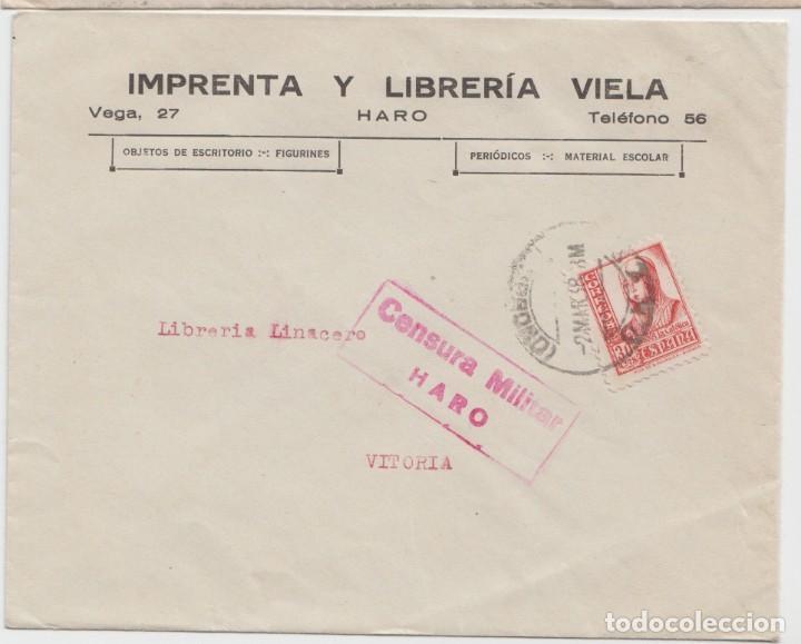 CENSURA MILITAR DE HARO - LOGROÑO (Sellos - España - Guerra Civil - De 1.936 a 1.939 - Cartas)