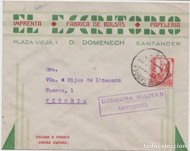 CENSURA MILITAR DE SANTANDER (Sellos - España - Guerra Civil - De 1.936 a 1.939 - Cartas)