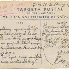 Francobolli: POSTAL DE LAS MILICIES ANTIFEIXISTES DE CATALUNYA. DE BARCELONA A MILITAR EN HUESCA 1937. Lote 234340310