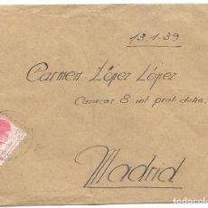 Selos: EDIFIL 752. SOBRE CIRCULADO POR EL CORREO DE CAMPAÑA A MADRID. 1939. Lote 234345685