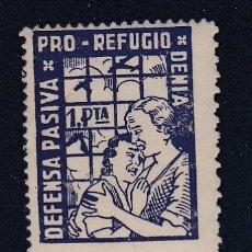 Sellos: ESPAÑA.- DENIA NDEFENSA PASIVA - PRO REFUGIO 1 PTA. AZUL MUY RARA ( VER DESCRIPCIÓN ). Lote 234634355
