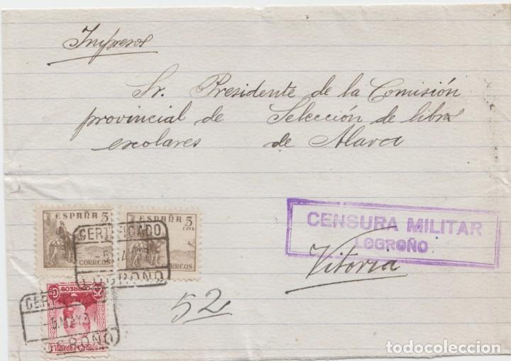 CENSURA MILITAR LOGROÑO (Sellos - España - Guerra Civil - De 1.936 a 1.939 - Cartas)