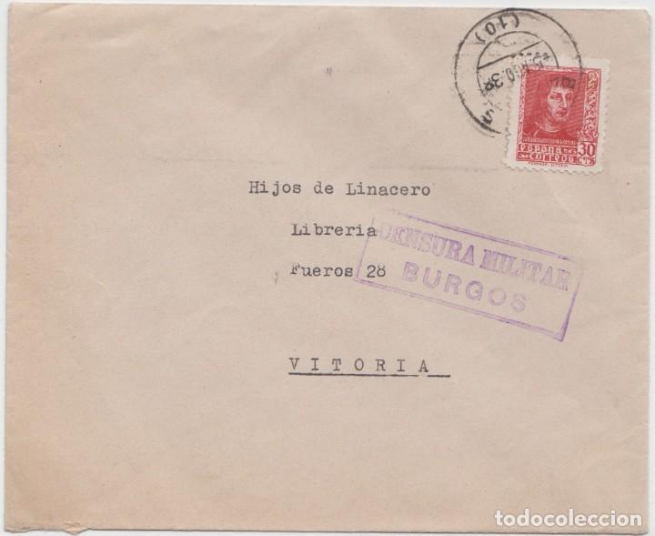 CENSURA MILITAR BURGOS (Sellos - España - Guerra Civil - De 1.936 a 1.939 - Cartas)