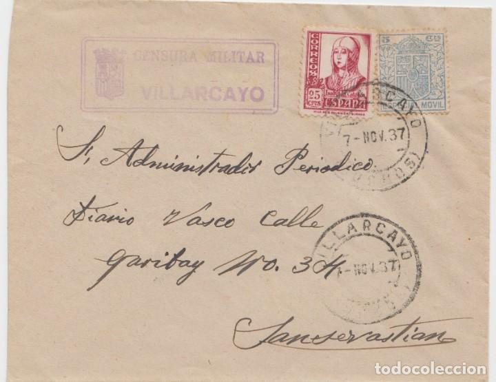 CENSURA MILITAR DE VILLARCAYO - BURGOS (Sellos - España - Guerra Civil - De 1.936 a 1.939 - Cartas)