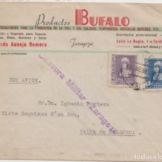 Sellos: CENSURA MILITAR ZARAGOZA - CORREO AEREO. Lote 234712860