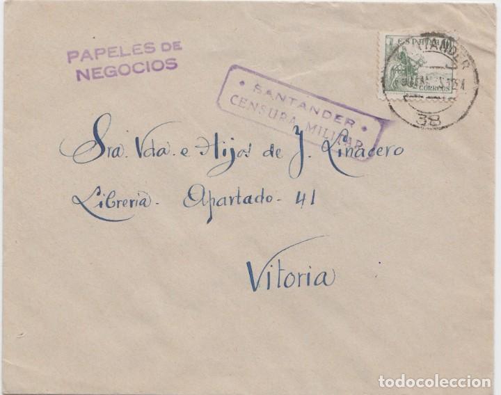 CARTA FRANQUEO IMPRESOS - CENSURA MILITAR DE SANTANDER (Sellos - España - Guerra Civil - De 1.936 a 1.939 - Cartas)