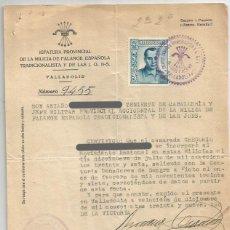 Sellos: JEFATURA PROV. MILICIA F.E.T Y J.O.N.S. VALLADOLID 1939. Lote 235001195