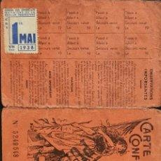 Sellos: VIÑETA GUERRA CIVIL EMITIDA EN FRANCIA 1 FR. CGT 1º MAI 1938 SOBRE DOCUMENTO.. Lote 235044280