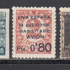 Sellos: CANARIAS, 1936 EDIFIL Nº 1 / 3 **/*, SELLOS REPUBLICANOS HABILITADOS. Lote 235072960