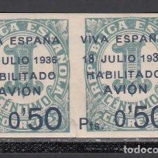 """Sellos: CANARIAS, 1936 EDIFIL Nº 1 + 1HAB, /**/, """"13"""" EN VEZ DE """"18"""" Y """"3"""" DE """"1936"""" GRANDE. Lote 235074525"""