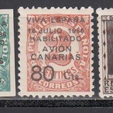 Sellos: CANARIAS, 1936-37 EDIFIL Nº 4 / 6 /*/, SELLOS REPUBLICANOS HABILITADOS.. Lote 235081685