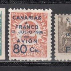 Sellos: CANARIAS, 1937 EDIFIL Nº 11 / 13 /*/, SELLOS REPUBLICANOS HABILITADOS.. Lote 235116000