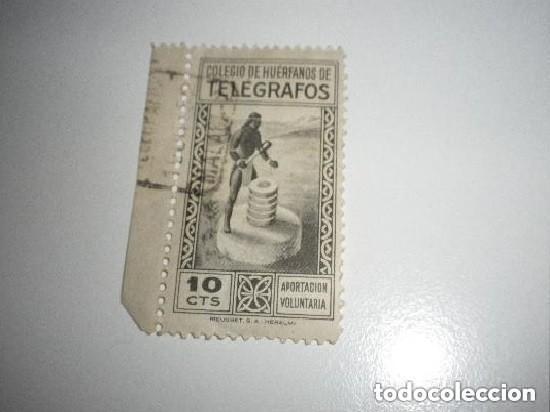 0288 COLEGIO DE HUERFANOS DE TELEGRAFOS 10 C. NEGRO GALVEZ Nº 71 USADO. PIE DE IMPRENTA RIEUSSET (Sellos - España - Guerra Civil - De 1.936 a 1.939 - Usados)