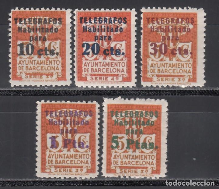 BARCELONA, TELÉGRAFOS 1930 EDIFIL Nº 4 / 8 /*/ (Sellos - España - Guerra Civil - Locales - Nuevos)