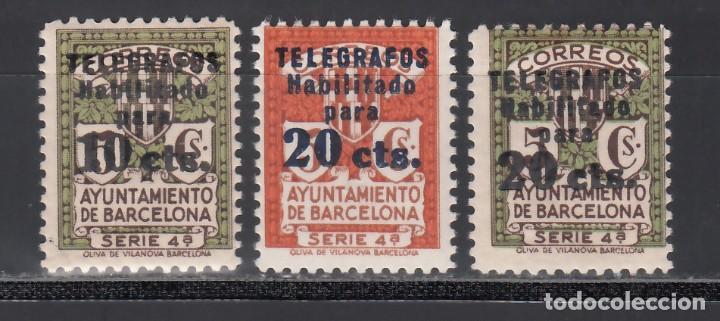 BARCELONA, TELÉGRAFOS 1936-38 EDIFIL Nº 10 / 12 /**/, SIN FIJASELLOS (Sellos - España - Guerra Civil - Locales - Nuevos)