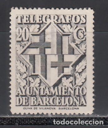 BARCELONA, TELÉGRAFOS 1941 EDIFIL Nº 14D (**), VARIEDAD DE PERFORACIÓN, DENTADO 14 (Sellos - España - Guerra Civil - Locales - Nuevos)