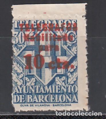 BARCELONA, TELÉGRAFOS 1942-1945 EDIFIL Nº 18HCC /**/, CAMBIO DE COLOR EN LA HABILITACIÓN, ROJO (Sellos - España - Guerra Civil - Locales - Nuevos)