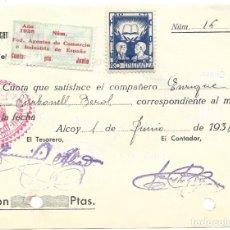 Sellos: ALCOY RECIBO UGT SINDICATO AGENTES DEL COMERCIO Y LA INDUSTRIA AÑO 1938 VIÑETA LOCAL PRO-ENSEÑANZA. Lote 235801320