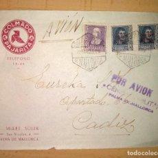 Sellos: CARTA CON CENSURA MILITAR PALMA DE MALLORCA-CADIZ, GUERRA CIVIL ESPAÑOLA. AÑO 1939. Lote 236056275
