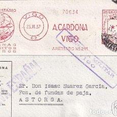 Sellos: A. CARDONA VIGO. CENSURA MILITAR REPÚBLICA. 25 NOVIEMBRE DE 1937. Lote 236122125