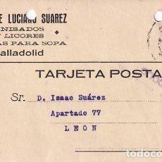 Sellos: VIUDA DE LUCIANO SUAREZ ANISADOS Y LICORES VALLADOLID. LEÓN 14 JULIO DE 1937 GUERRA CIVIL. Lote 236123765