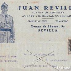 Sellos: JUAN REVILLA SEVILLA. AGENTE DE ADUANAS PATRIOTICA. FRANCO. VILLAFRANCA DE LOS BARROS. BADAJOZ.. Lote 236124485