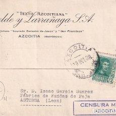 Sellos: EPELDE Y LARRAÑAGA AZOITIA TEXTIL. CENSURA MILITAR. OCTUBRE 1938 GUERRA CIVIL.. Lote 236125035