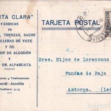 Sellos: TARJETA POSTAL SANTA CLARA ALBERDI Y CIA. FÁBIRCA DE HILADOS. CENSURA MILITAR AZCOITIA. 1938. Lote 236126510