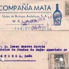 Sellos: TARJETA POSTAL COMPAÑÍA MATA. UNIÓN DE BODEGAS ANDALUZAS. MÁLAGA. 1939. Lote 236127115