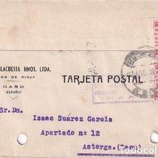 Sellos: TARJETA POSTAL MARTINEZ HNOS VINOS DE RIOJA HARO. CENSURA MILITAR. 1939. Lote 236127850