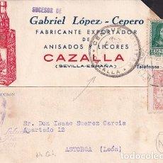 Sellos: GABRIEL LOPEZ CEPERO. FABRICANTE ANISADOS Y LICOARES. CAZALLA. SEVILLA. RARA CENSURA VIÑETA.. Lote 236131070