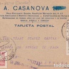 Sellos: TARJETA POSTAL A CASANOVA. LA RUA PETIN ORENSE. CENSURA MILITAR RARA. 1939 GUERRA CIVIL. Lote 236133335