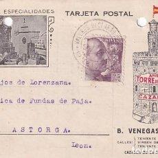 Sellos: TARJETA POSTAL VENEGAS PORRAS. CAZALLA DE LA SIERRA. FRANCO. 1940. SECCIÓN DE ESPECIALIDADES.. Lote 236134860